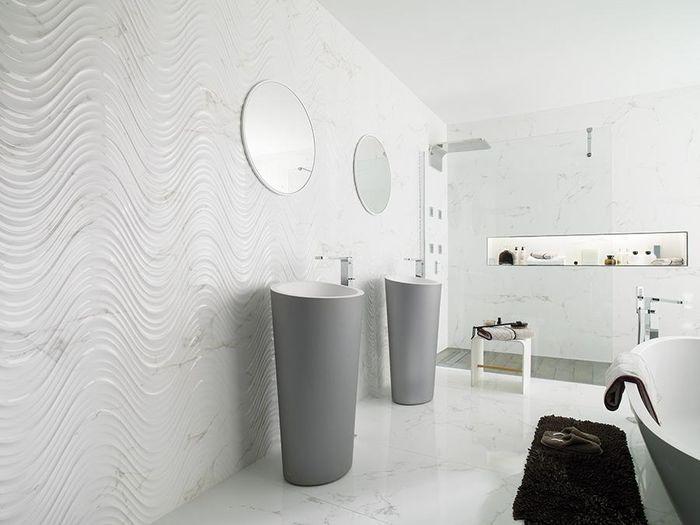 3D плитка с волнистым эффектом. Фото:i Carrara Creta Blanco Porcelanosa
