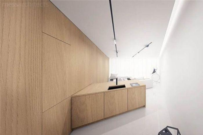 Скрытая в шкафу кухня. Фото: студия Mess Architect