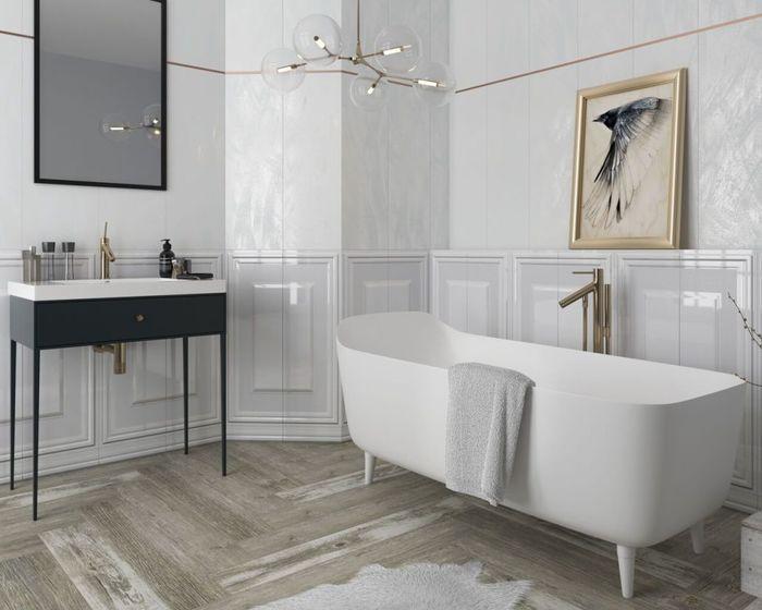 Классическое оформление ванной. Коллекция плитки Chevron. Керамика Paradiz