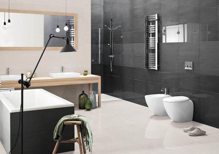 Контрастные стены в ванной. Коллекция плитки Doblo. Керамика Paradiz