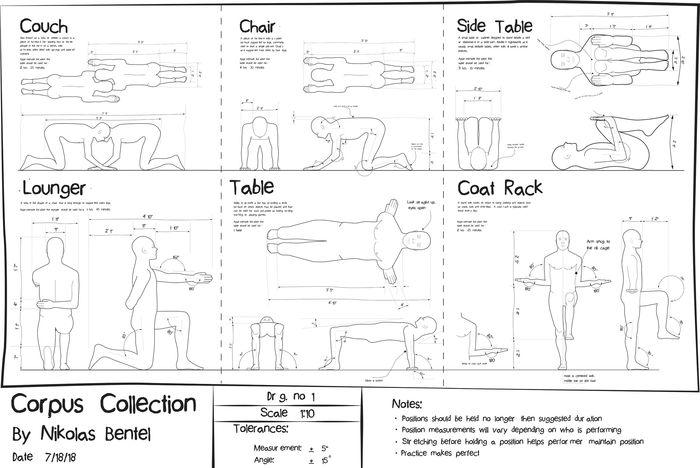 Мебель, образованная обнаженным телом. Дизайнер: Николас Бентел (Nikolas Bentel)