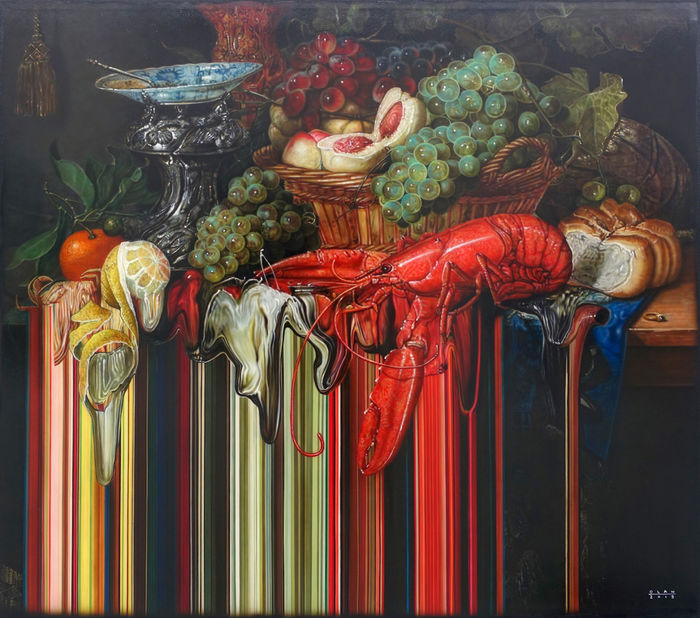 «Натюрморт с золотым кубком» (2019), холст, акрил, 121,9 х 137,2 см