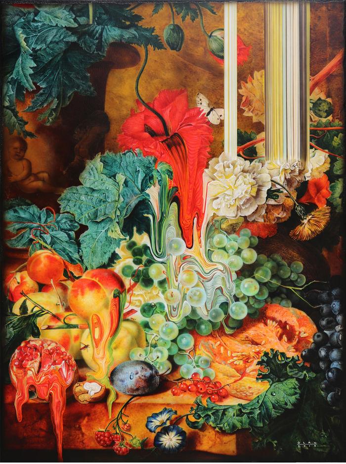 «Фруктовый натюрморт» (2019), холст, акрил, 101,6 х 76,2 см