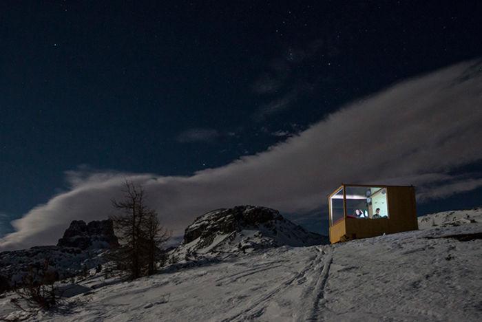 Крошечная звездная хижина в Доломитовых горах