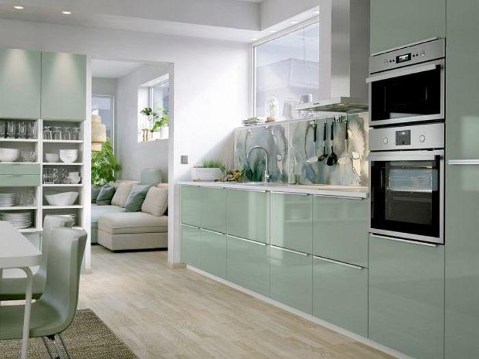 Кухня на заказ в зеленом цвете  Фото IKEA