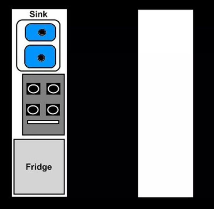 Планировка коридорной кухни