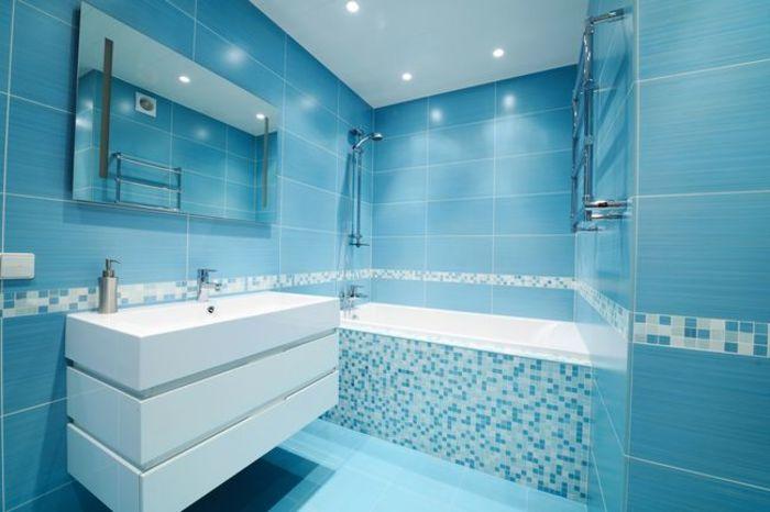 Оформление стен ванной комнаты мозаикой