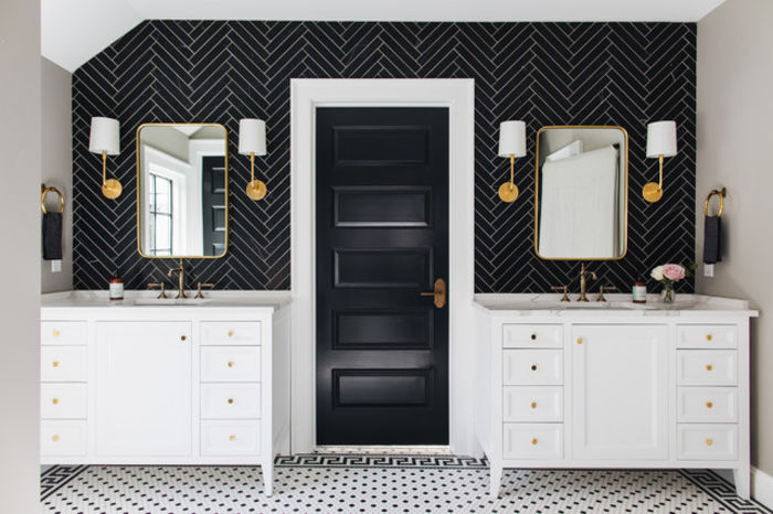Черный и белый в ванной