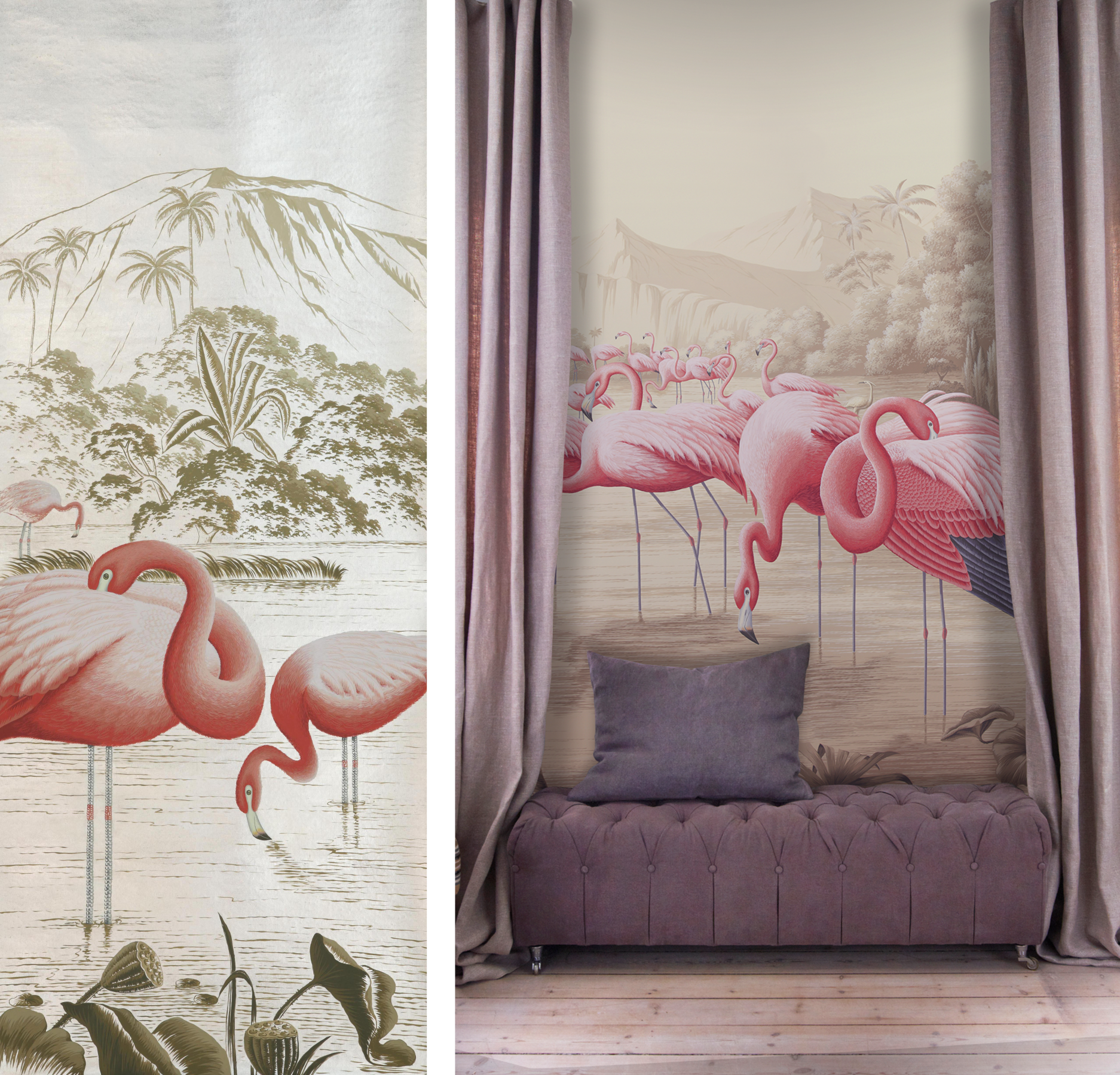 9_de_gournays_new_flamingos_design_in_original_design_colours_on_sterling_silver_gilded_paper_and_also_shown_on_sepia_scenic_paper