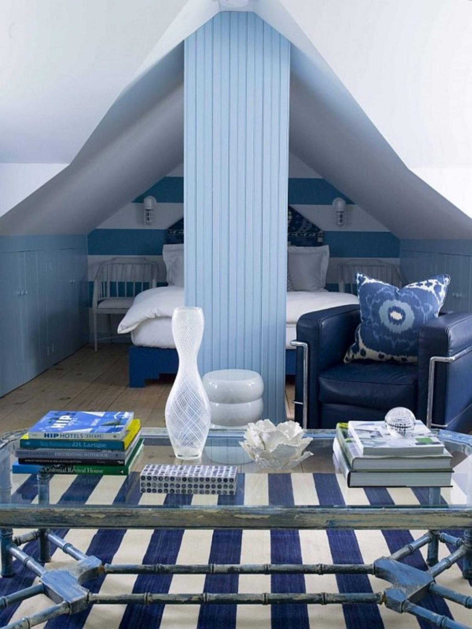 elegance-small-attic-bedroom-ideas-with-blue-white-striped-rug-on-floor-including-white-bedding-set-plus-striped-paint-wall-and-blue-chair-beside-partition-wall
