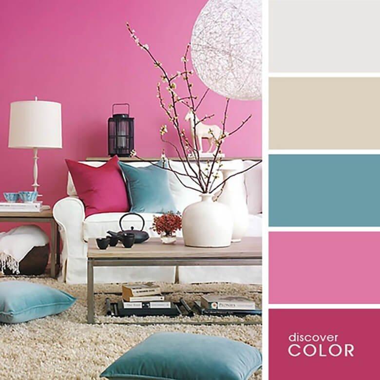 Розовый и лазурный цвета в комнате