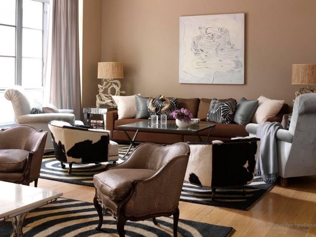Оформление интерьера в коричневом стиле