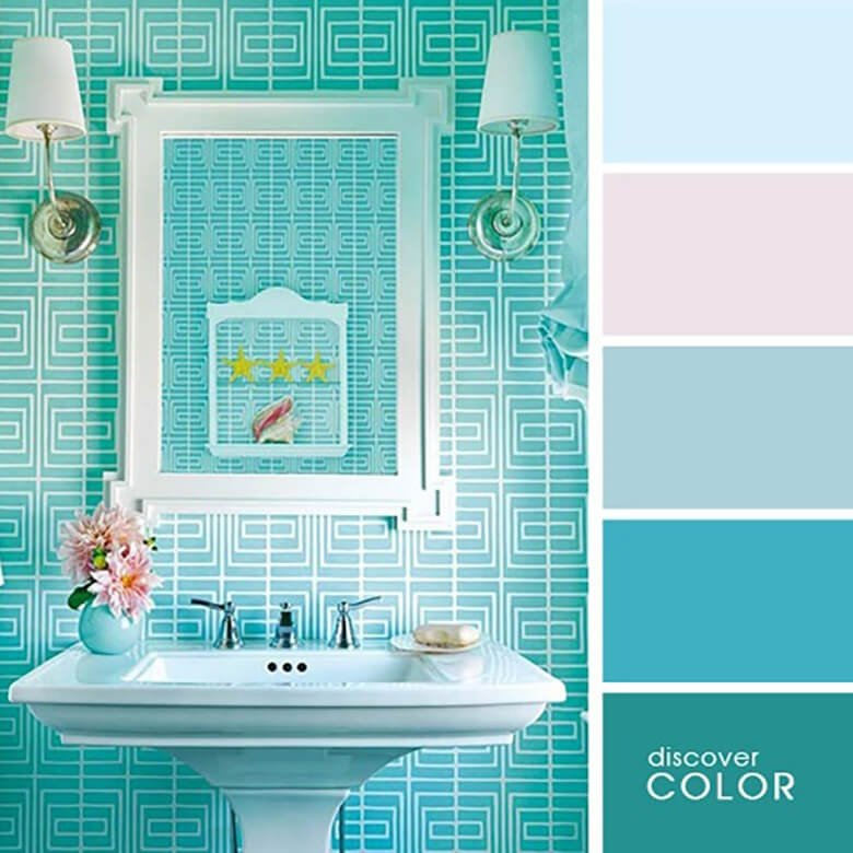Ванная комната оформленная в цвете тиффани