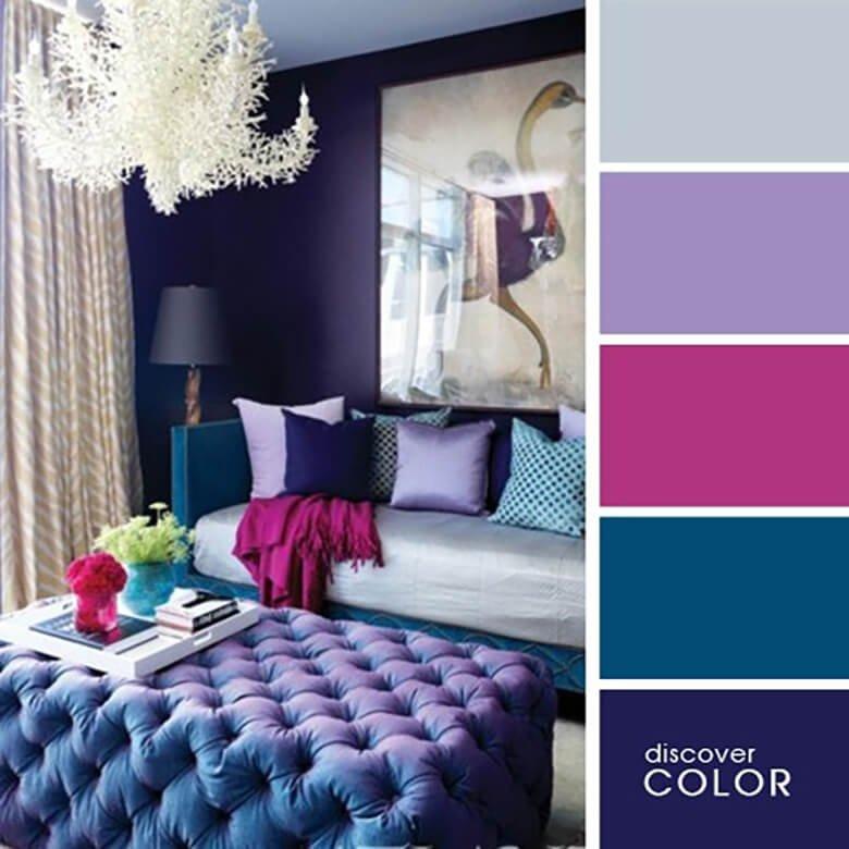 Мягкие синие тона в спальной комнате