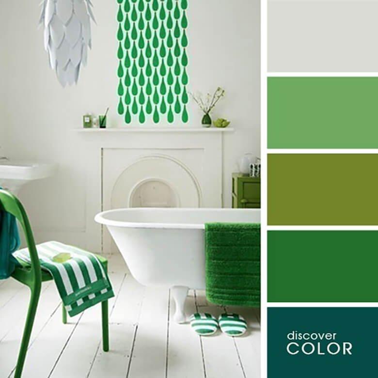 Оформление ванной в зеленых цветах