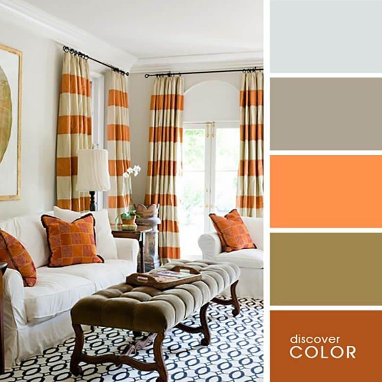 Гостиная в кирпичном оранжевом цвете