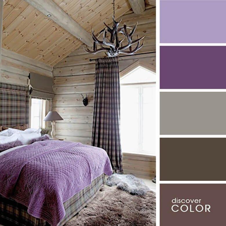 Сочетание коричневого и фиолетового цвета в спальне