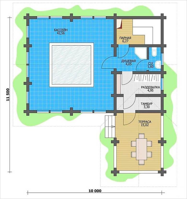 Учет места под бассейн в плане дома