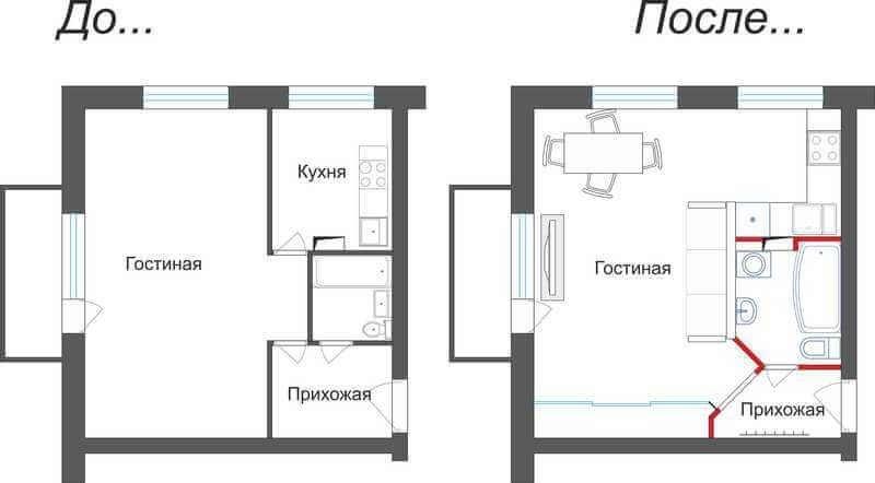 Чертеж квартиры, с учетом планировки кухни