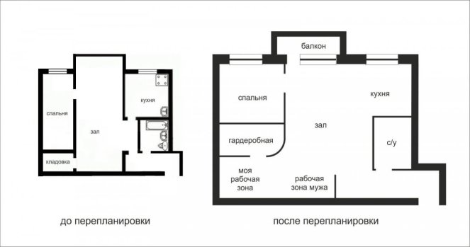 Чертеж квартиры, в котором учтена комната для кухни