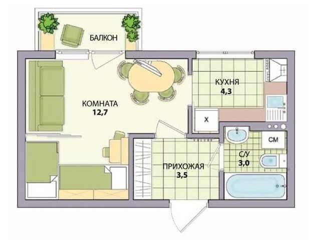 Чертеж квартиры, в котором переделанна комната для кухни