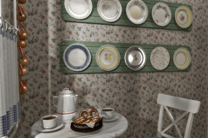 Деревенская керамика на кухне Прованс