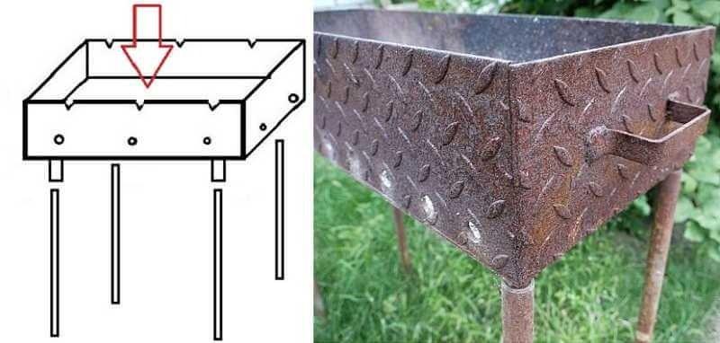 Изображение процесса создания ножек металлического мангала
