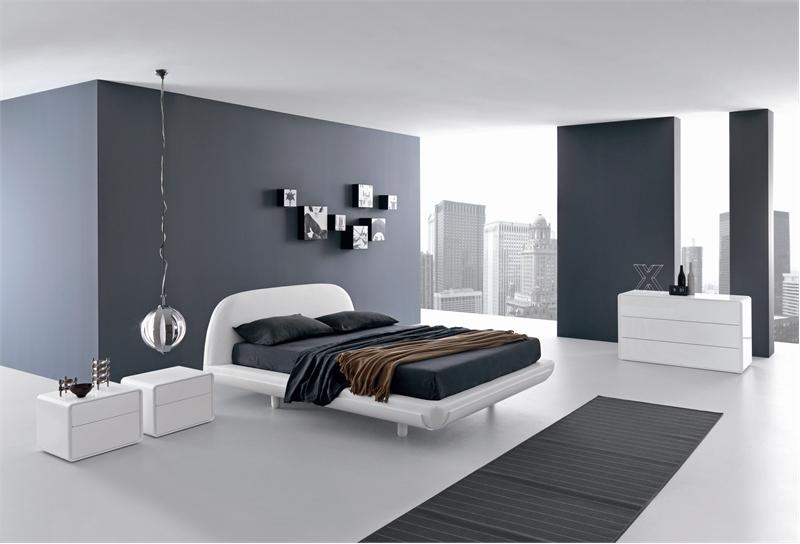 Фото красивой спальни, оформленной в строгом стиле хай тек