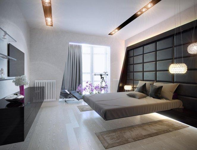 Спальня в стиле хай тек с текстильными элементами бежевого цвета
