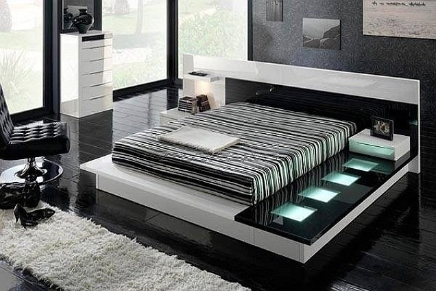 Визуально расширенная спальня, при помощи грамотно подобранных цветов