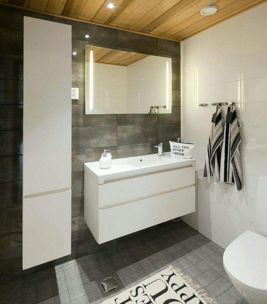 Грамотно подобранное освещение в темной ванной