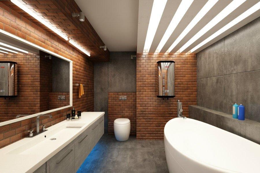 Красивое освещение в просторной ванной