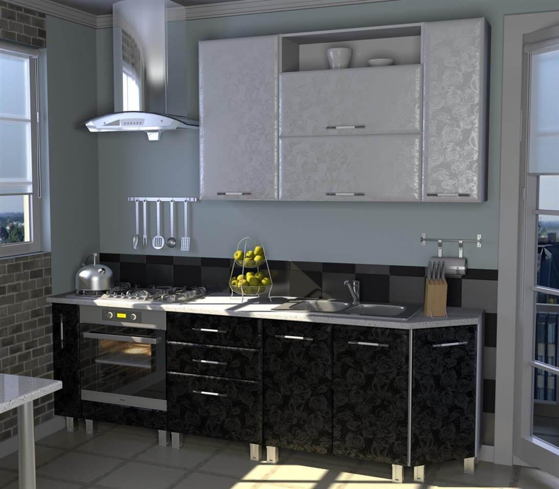 Классический вариант черно белой кухни, в который впишется любая мебель