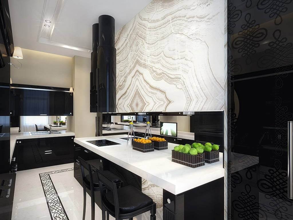 Фото черно белой кухни с примесью различных оттенков