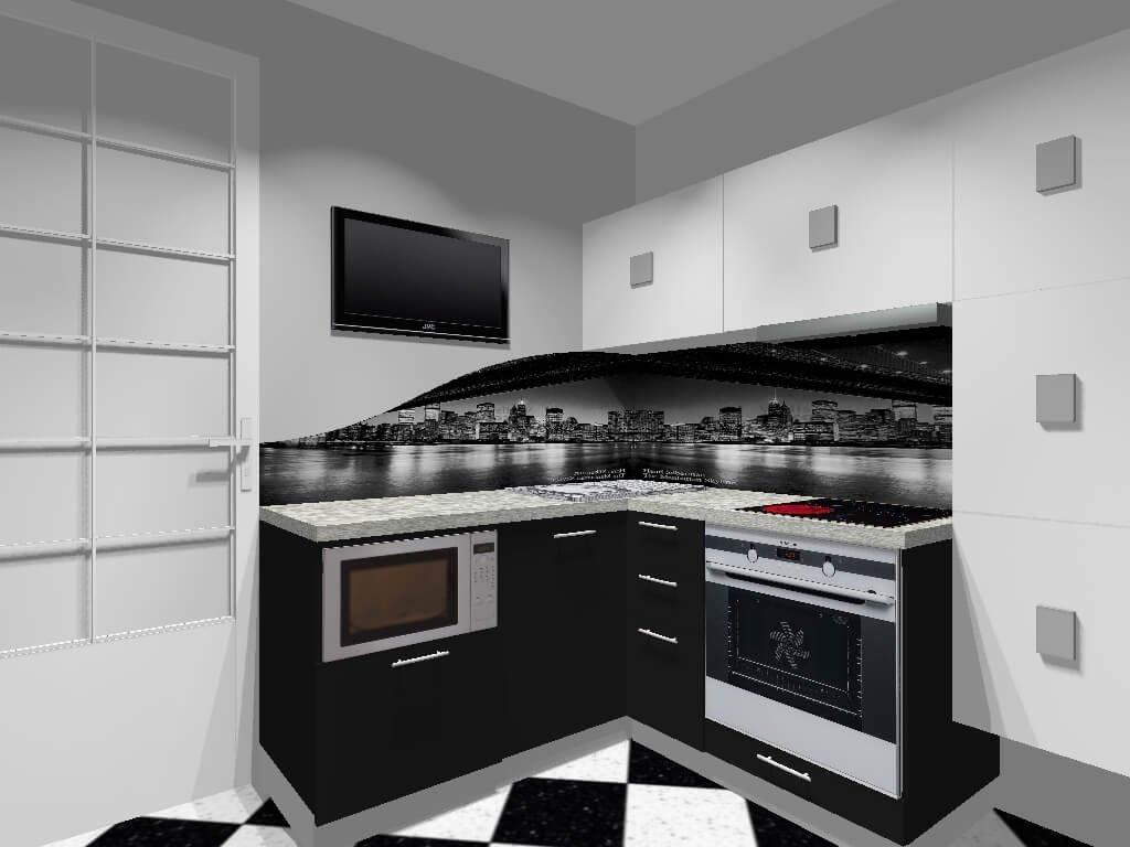 Фото черно белой кухни со встроенной духовкой