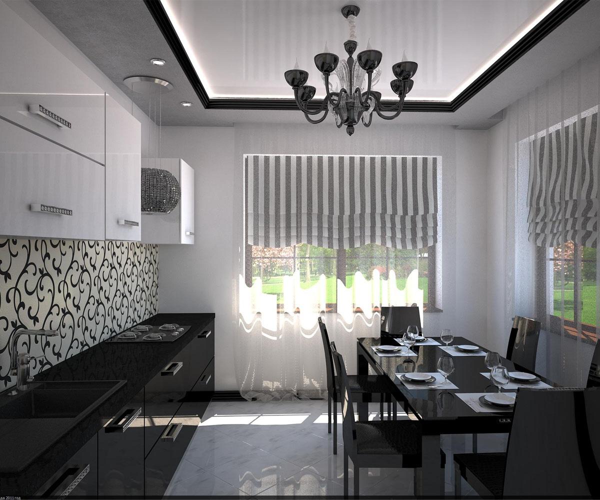 Белые шторы с черными полосками на кухне