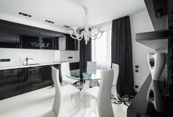 Фото подходящих штор для черно белой кухни