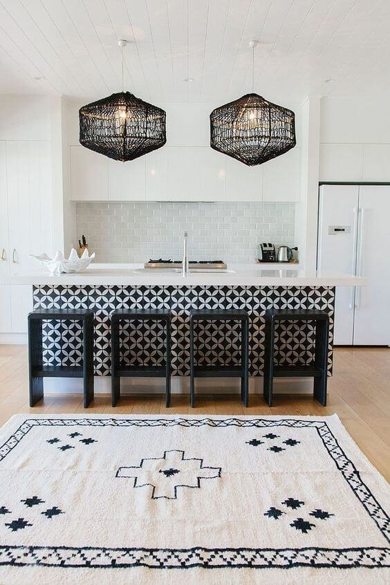 Интересная черная мебель на белой кухне