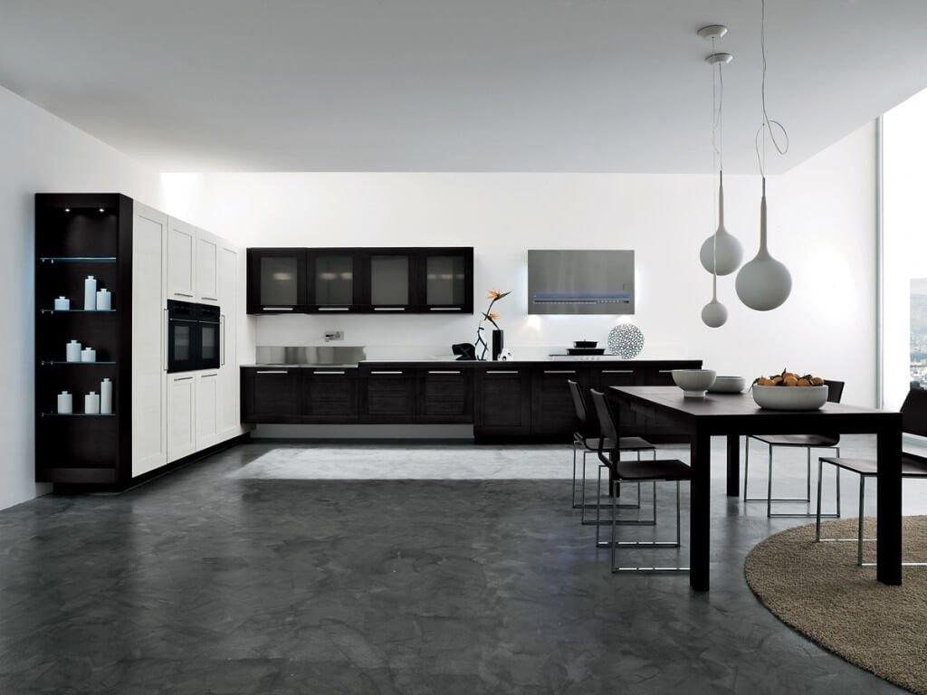 Гармоничное оформление кухни в черно белом стиле