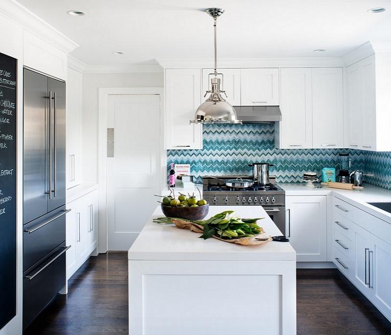 white-kitchen-with-a-blue-backsplash-in-vibrant-chevron-pattern