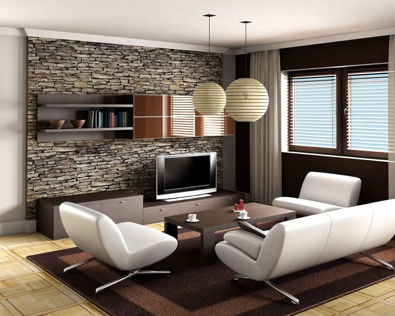 Фото зала, оформленного в стиле минимализм