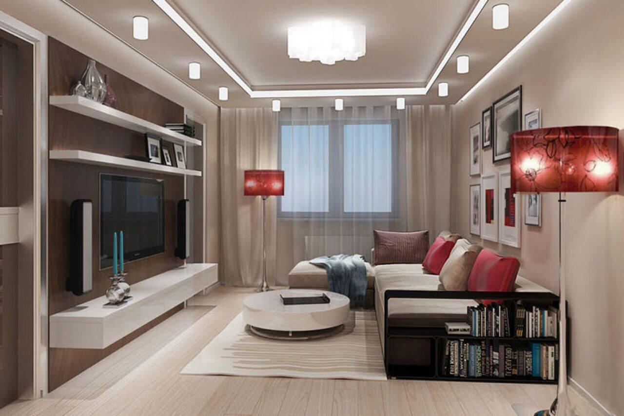 Фото зала в квартире с большим телевизором