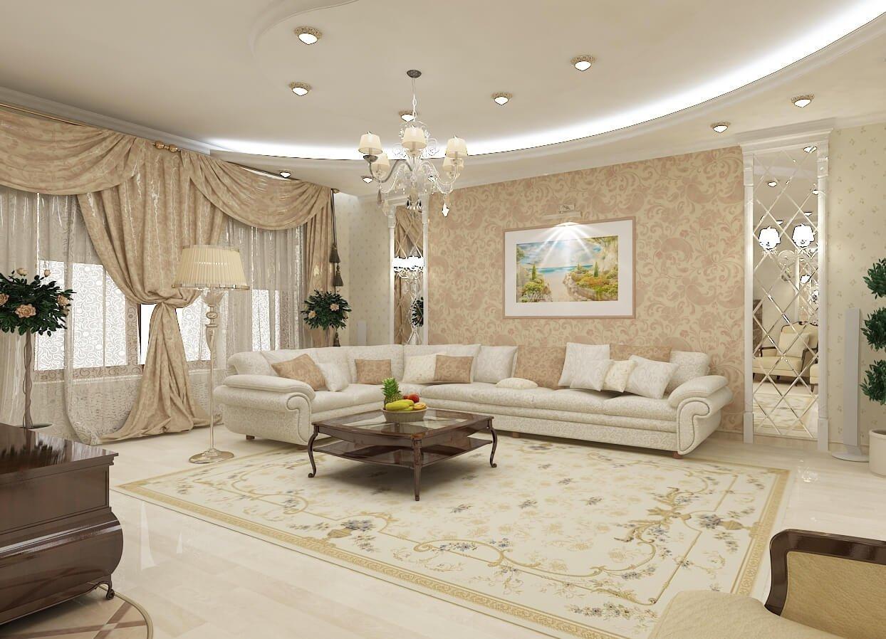 Фото комфортного зала, оформленного в белых цветах