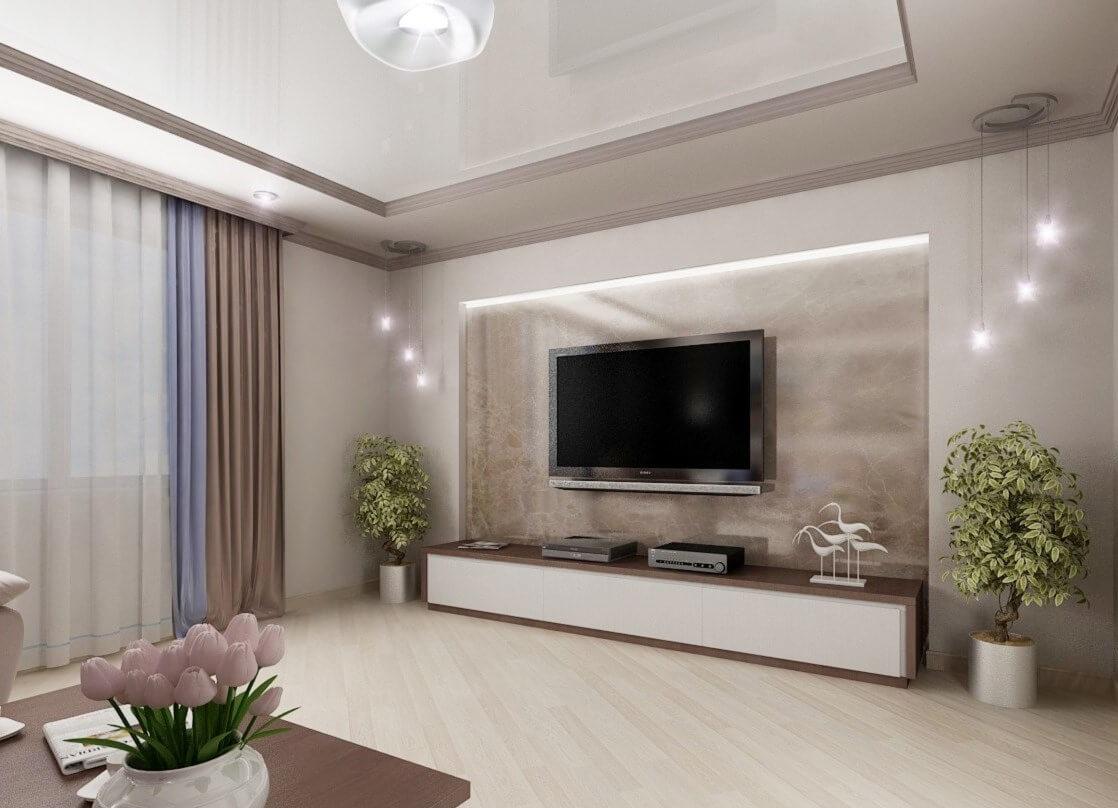 Фото зала, оформленного в стиле хай-тек