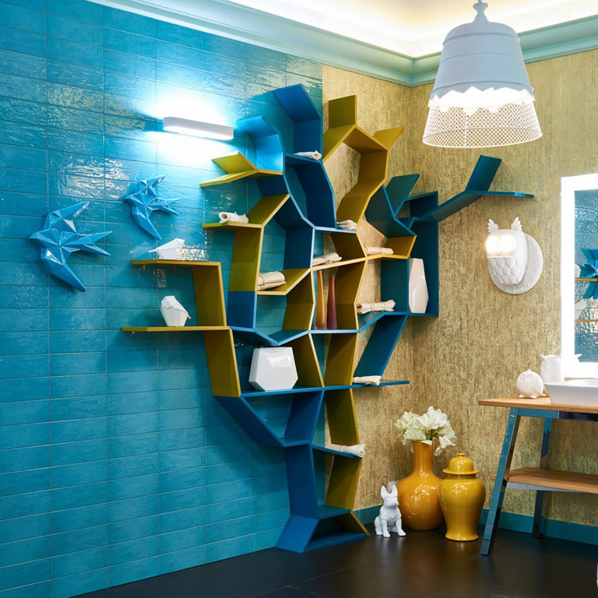 0-creative-bathroom-interior-design-eclectic-eco-style-shelving-unit-tree-shaped-turquoise-blue-glazed-wall-tiles-golden-wallpaper-omexco-vanity-unit-mirror-with