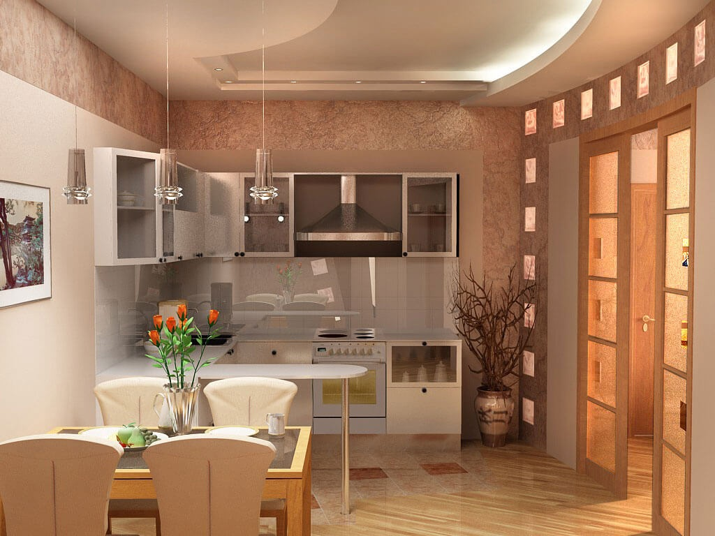 Фото совмещенной барной стойки на кухне