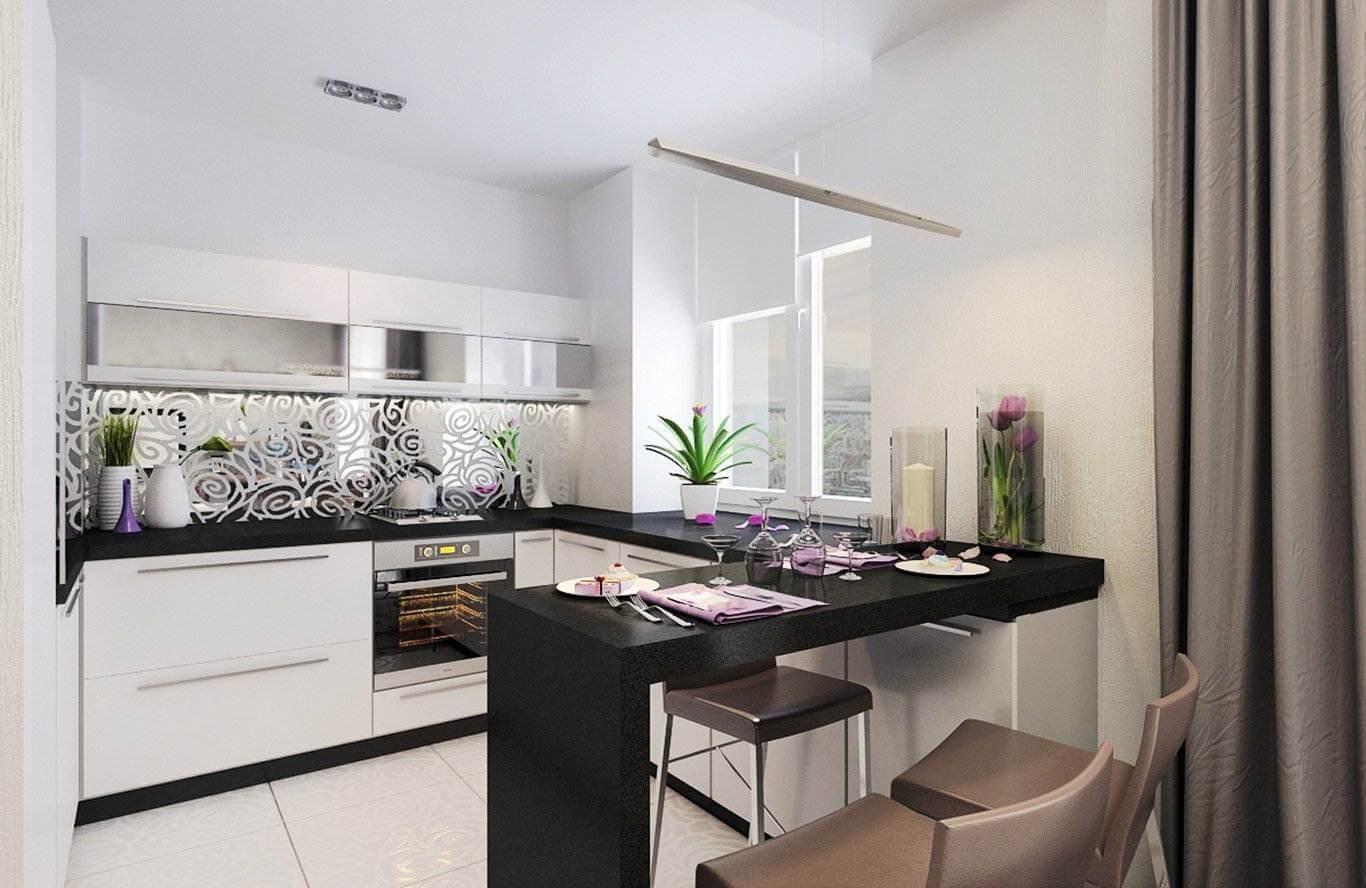 Черная барная стойка на белой кухне