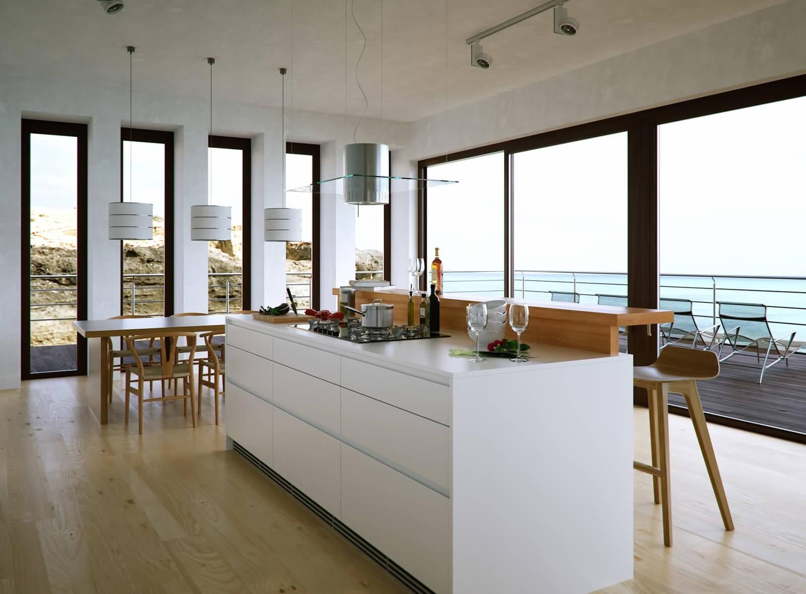 Фото кухни-столовой с барной стойкой