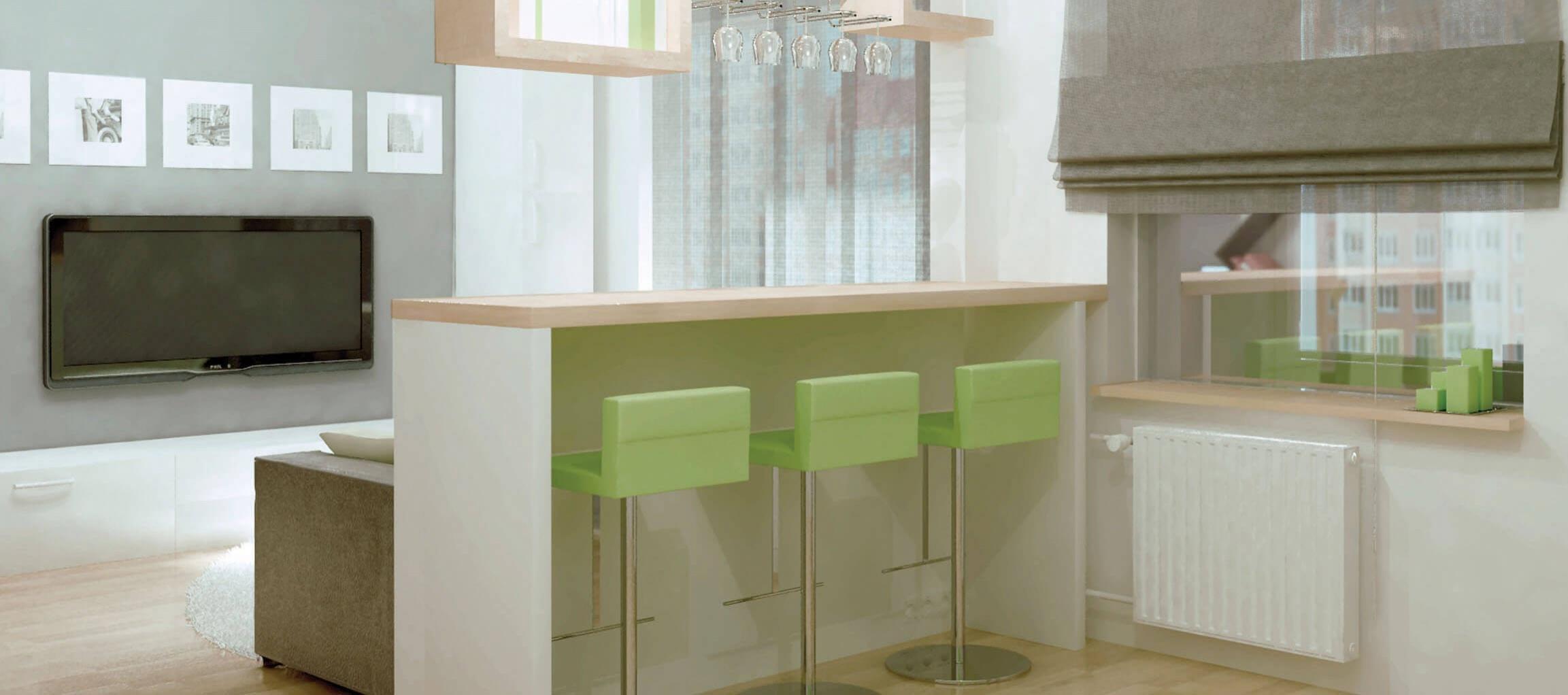 Фото кухни-студии с барной стойкой - 2