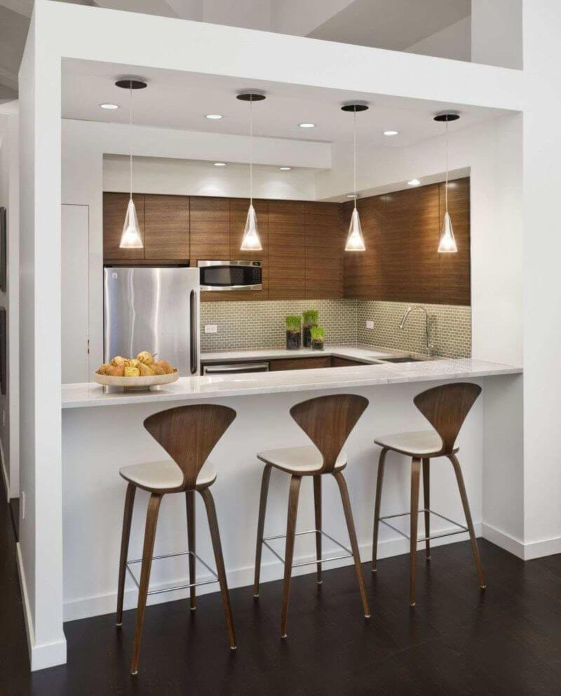 Фото регулируемой барной стойки на кухне